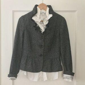 LOFT Tweed Ruffle Neck Peplum Jacket